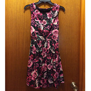 ASOS Vila Black & Pink Rose Print Dress XXS